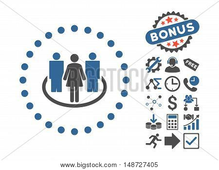 Society icon with bonus clip art. Vector illustration style is flat iconic bicolor symbols, cobalt and gray colors, white background.