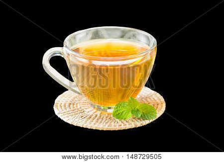 Cup of tea isolate on black. You can apply for tea background, tea backdrop, tea wallpaper and everything about tea background for your design.
