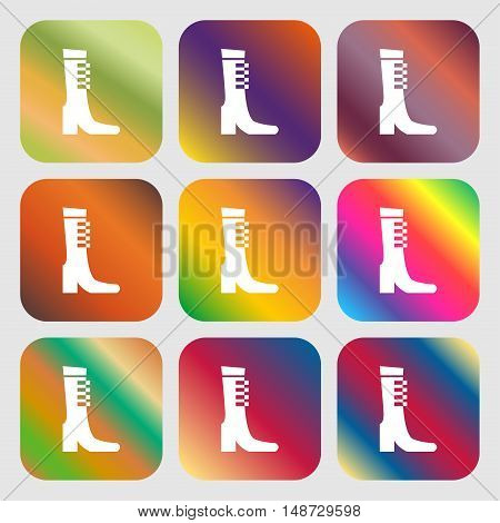Female Fall And Winter Shoe, Boot Icon Sign. Nine Buttons With Bright Gradients For Beautiful Design