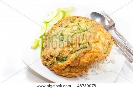 The Fried Acacia Pennata and rice isolated on white background.