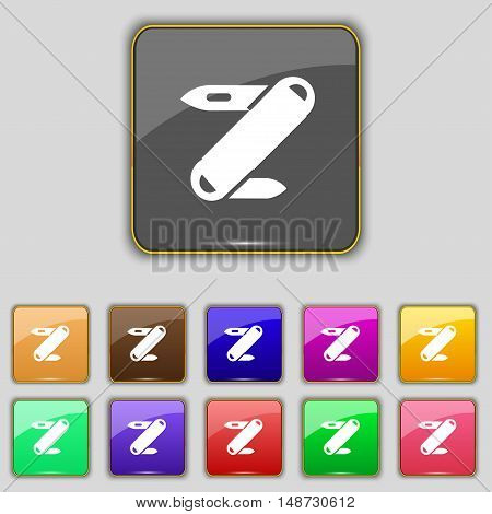 Pocket Knife Icon Sign. Set With Eleven Colored Buttons For Your Site. Vector
