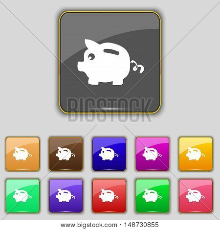 Piggy Bank Icon Sign. Set With Eleven Colored Buttons For Your Site. Vector