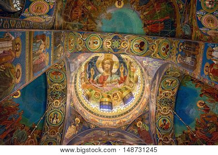 ST PETERSBURG RUSSIA - NOVEMBER 26 2015: Interior of Church of the Savior on Spilled Blood (Cathedral of Resurrection of Christ). Architectural landmark and a unique monument to Alexander II.