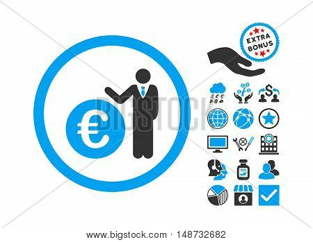 Euro Economist pictograph with bonus images. Vector illustration style is flat iconic bicolor symbols, blue and gray colors, white background.