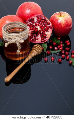Pomegranate, Apple And Honey For Traditional Holiday Symbols Rosh Hashanah