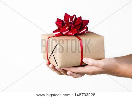 Giving a Gift, a person holding a present