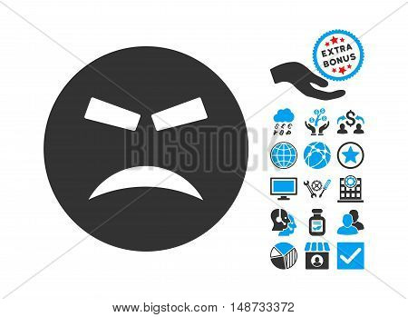 Furious pictograph with bonus pictograph collection. Vector illustration style is flat iconic bicolor symbols, blue and gray colors, white background.