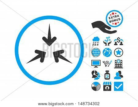 Impact Arrows icon with bonus elements. Vector illustration style is flat iconic bicolor symbols, blue and gray colors, white background.