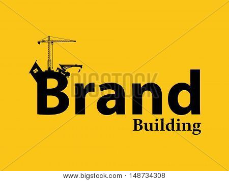 brand branding building development illustration with sillhouette text with crane bulldozer and construction theme