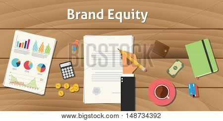 brand equity value valuation illustration with hand businessman work on paper document with graph and chart with money and gold coin