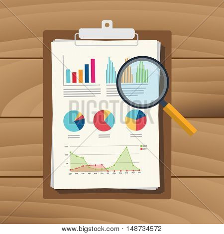 audit graph data analysis result paper result document finance financial report with magnifying glass vector