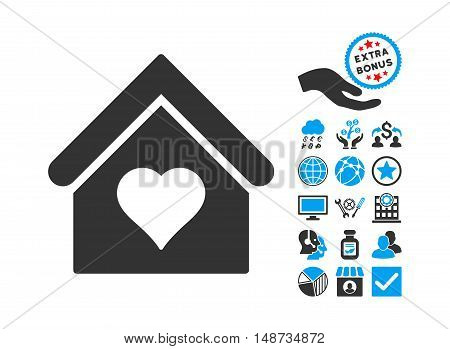 Love House icon with bonus pictures. Vector illustration style is flat iconic bicolor symbols, blue and gray colors, white background.