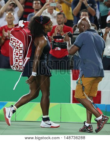 RIO DE JANEIRO, BRAZIL - AUGUST 9, 2016: Olympic champion Serena Williams of United States leaving court after loss to Elena Svitolina of Ukraine at round three match of the Rio 2016 Olympic Games