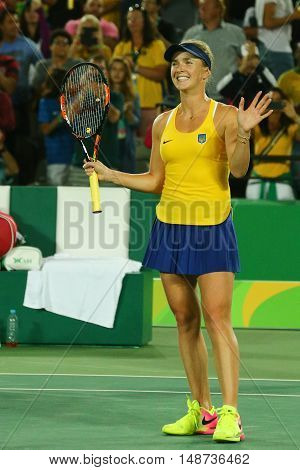 RIO DE JANEIRO, BRAZIL - AUGUST 9, 2016: Professional tennis player Elina Svitolina of Ukraine celebrates victory against Serena Williams of USA at round three match of the Rio 2016 Olympic Games