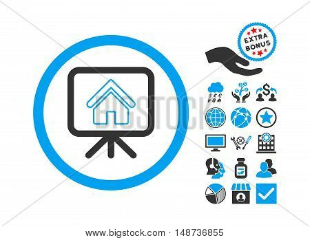 Project Slideshow pictograph with bonus icon set. Vector illustration style is flat iconic bicolor symbols, blue and gray colors, white background.