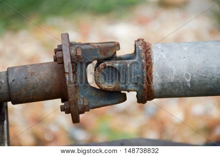 close up old iron joints in garden