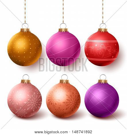 Christmas balls colorful decoration  set hanging in isloated white background with different designs. Vector illustration