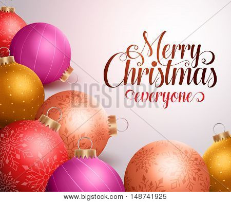 Merry christmas background design with colorful christmas balls and space for greetings to everyone. Vector illustration