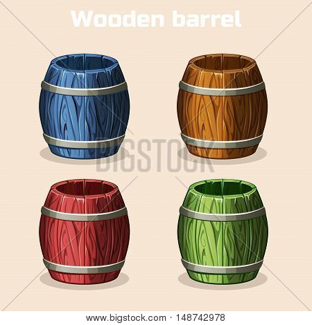 colored cartoon wooden barrels, game elements in vector