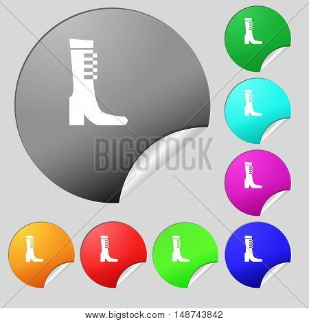 Female Fall And Winter Shoe, Boot Icon Sign. Set Of Eight Multi Colored Round Buttons, Stickers. Vec