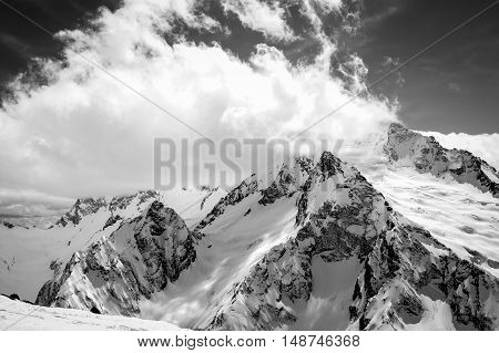 Black And White View On Ski Resort In Snow Winter