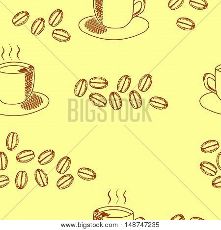 Seamless coffee pattern with coffee cup and coffee beans. Hand drawn illustration in sketch style on light background.
