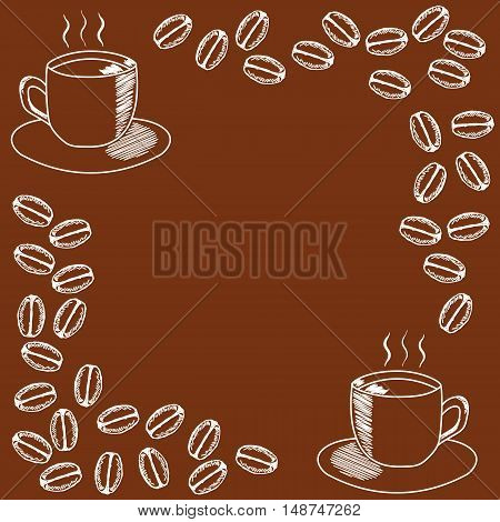 template for the invitation with mug of coffee and coffee beans on brown background