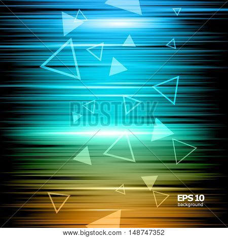 Abstract composition shiny geometric shape flare visual colored lines light flying triangle radiance icon effulgence logo construction glory screen saver luster sheen EPS 10 vector