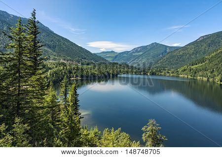 Three Valley Lake near Revelstoke British Columbia Canada on a summer day