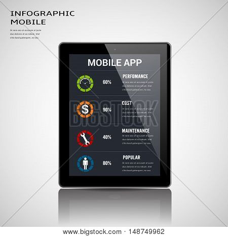 Mobile apps information infographic template.Can used for infographic,banner,data,chart,diagram,presentation business and social network. Vector illustration business cocnept