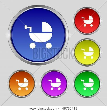 Baby Stroller Icon Sign. Round Symbol On Bright Colourful Buttons. Vector