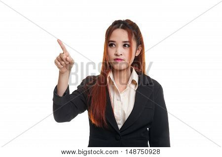 Asian Business Woman Touching The Screen With Her Finger.
