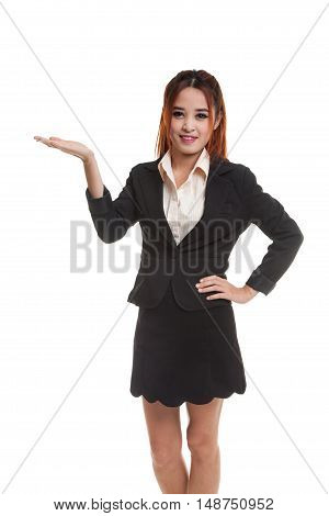 Young Asian Business Woman Present With Her Hand.