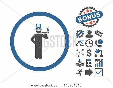 American Capitalist pictograph with bonus clip art. Glyph illustration style is flat iconic bicolor symbols, cobalt and gray colors, white background.