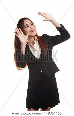 Excited Young Asian Business Woman Look Up.
