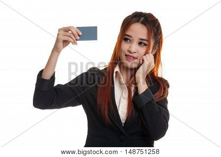 Happy Young Asian Business Woman With A Blank Card.
