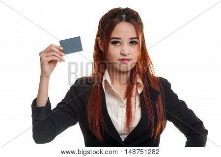 Young Asian Business Woman With A Blank Card.