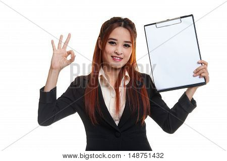 Young Asian Business Woman Show Ok And Blank Clipboard.