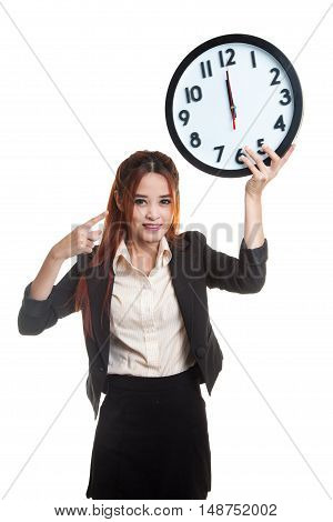 Young Asian Business Woman Point To A Clock.