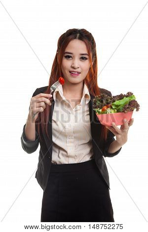 Healthy Asian Business Woman With Salad.