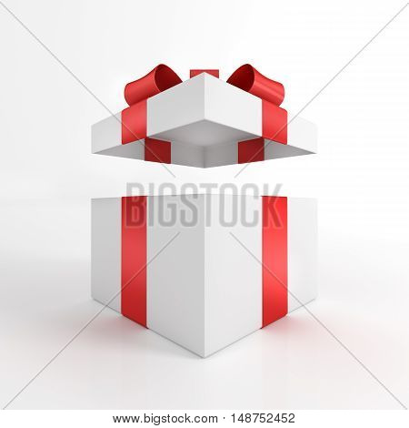 Open Gift Box 3D Render Isolated on White. Gift Box with Large Red Bow.