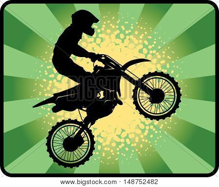 Abstract Motocross sport poster or background, vector illustration