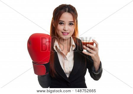 Young Asian Business Woman With Tomato Juice And Boxing Glove.