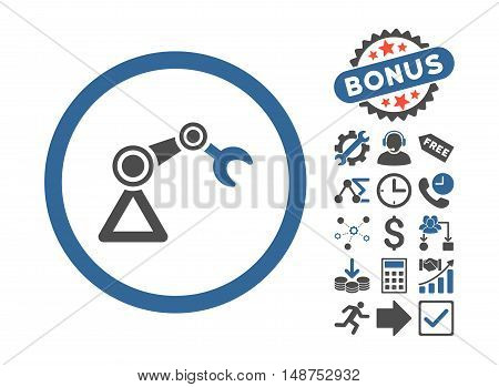 Artificial Manipulator pictograph with bonus pictograph collection. Glyph illustration style is flat iconic bicolor symbols, cobalt and gray colors, white background.