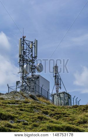 Communications cellular  telecoms communications antenna in the high mountains