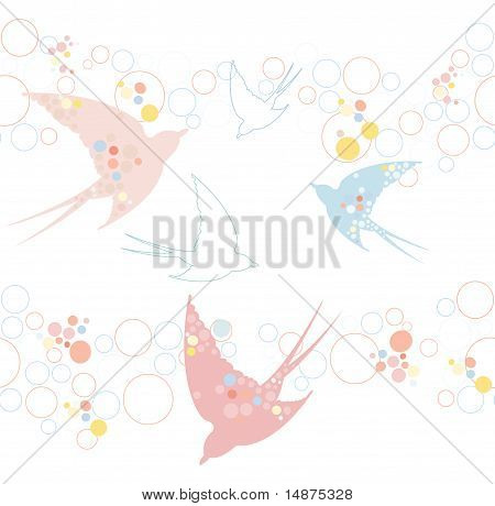 Cute seamless swallow pattern. Very trendy, cute and stylish. Easy for editing or changing colors. poster