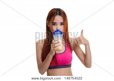 Beautiful Asian Healthy Girl Show Thumbs Up  Drink Whey Protein.