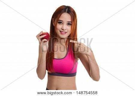 Beautiful Asian Healthy Girl Point To Red Apple.