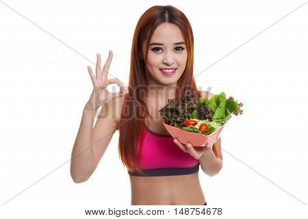 Beautiful Asian Healthy Girl Show Ok With Salad.