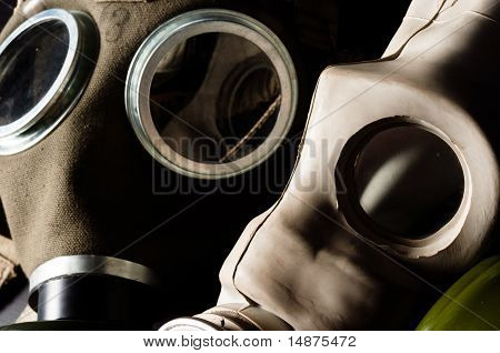 Two Gasmask With Focus On The Grey One